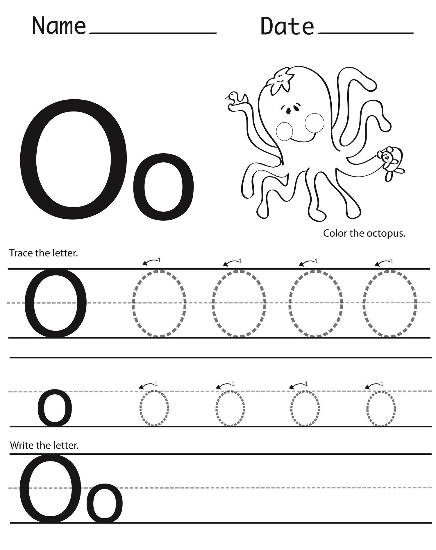 The Letter O Worksheets For Preschoolers 327466