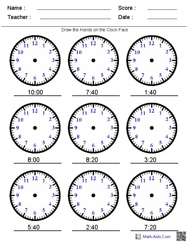 Third Grade Math Clock Worksheets 1132887