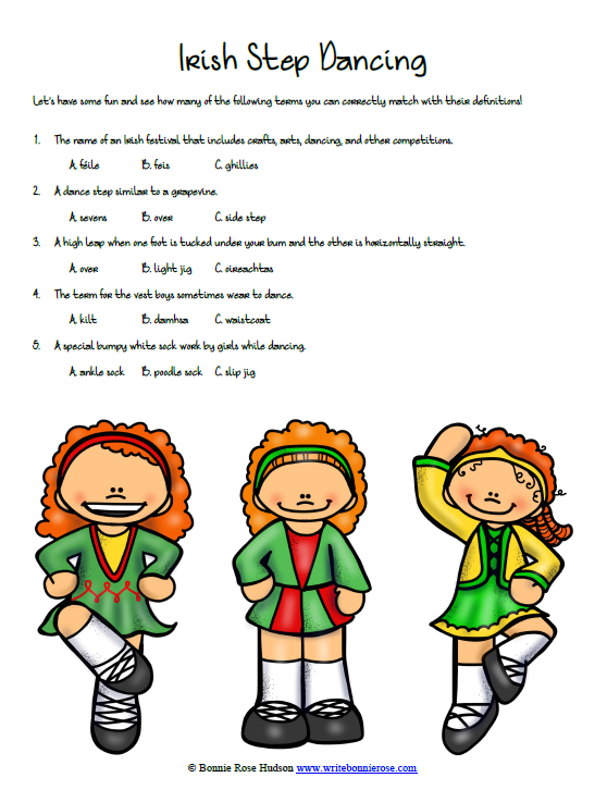 Timeline Worksheet  March 17, 1762, Irish Step Dancing Vocabulary