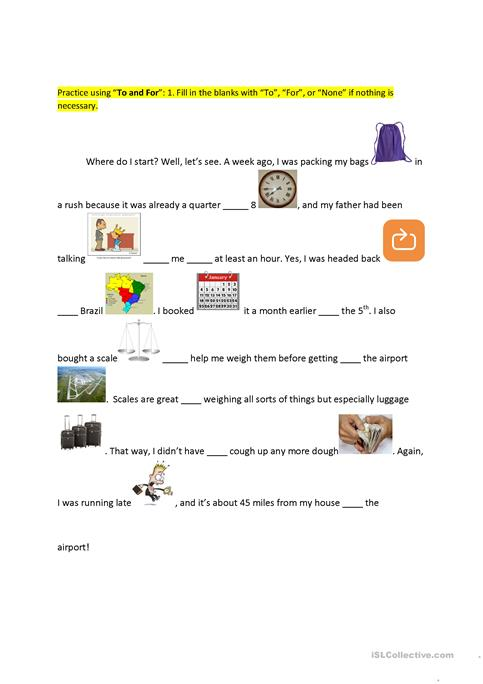 To Vs  For Preposition Practice Worksheet