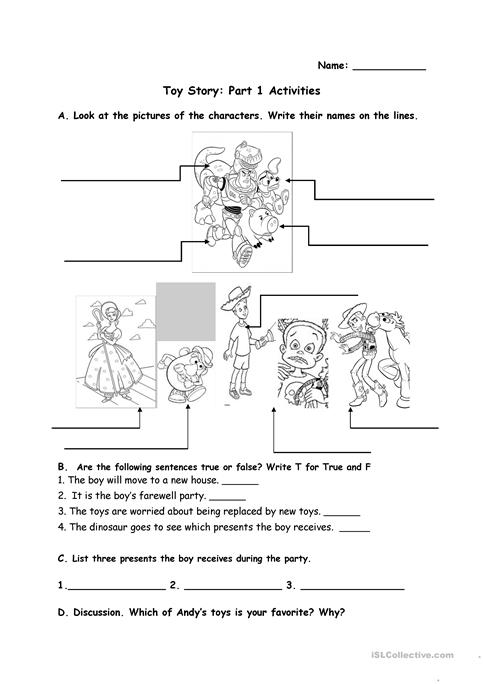 Toy Story Activities Worksheet