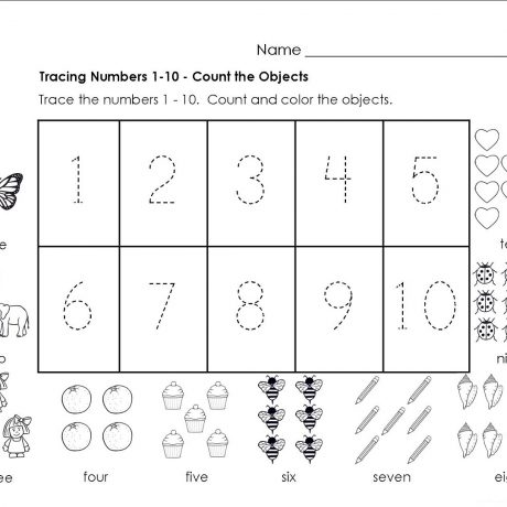 Traceable Numbers 1 10 Worksheets To Print Activity Shelter Number