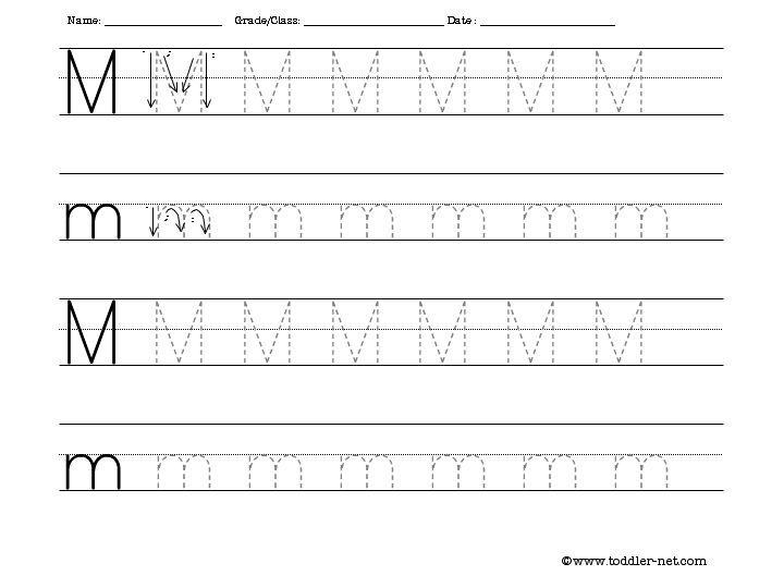 Tracing Letter M Worksheets Kindergarten 926941