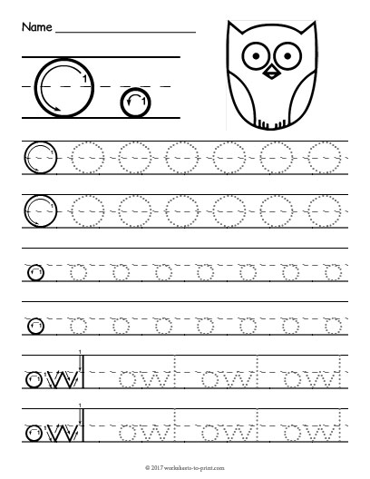 Tracing Letter O Worksheet