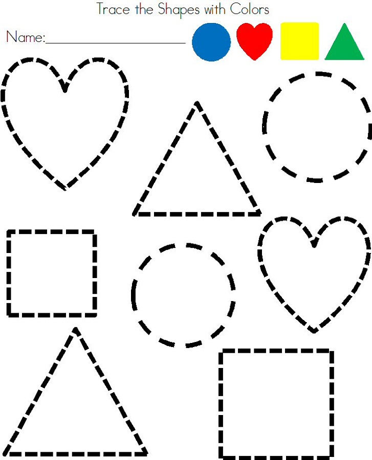 Tracing Shapes Worksheets For Pre K 402900