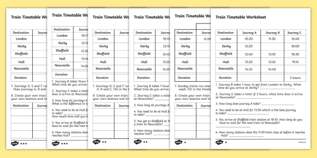 Train Timetable Worksheet