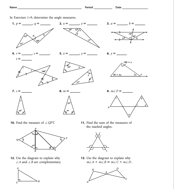 Triangle Sum Theorem Worksheets The Best Worksheets Image