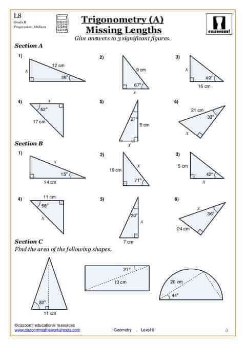 Trigonometry Worksheets 1346507