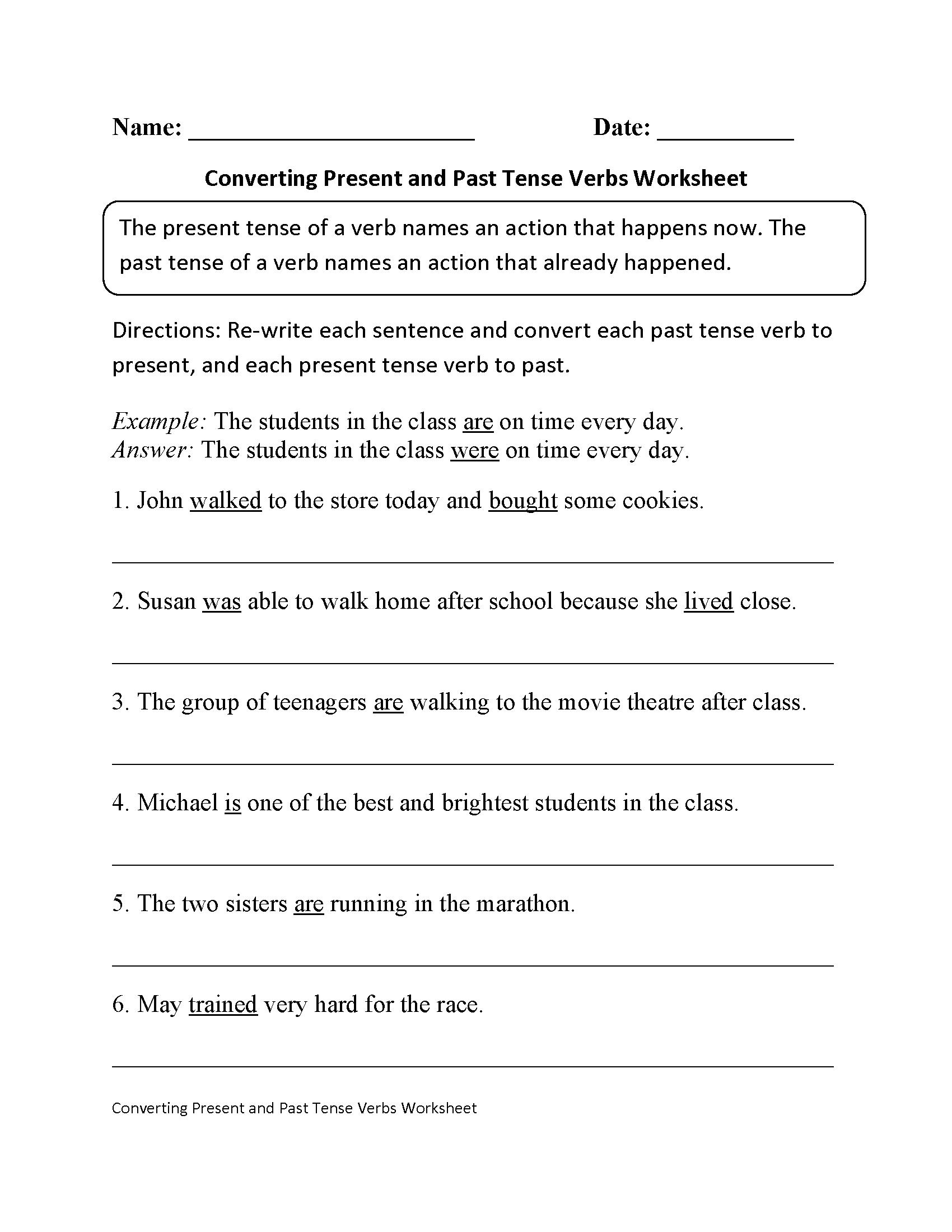 Verb Tense Worksheet 604597