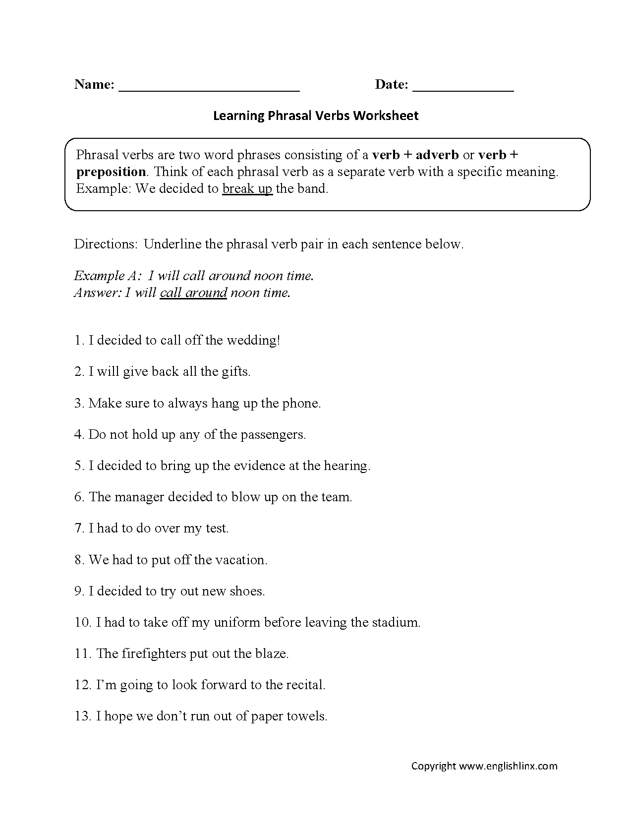 Verb Worksheet High School Pdf 588349