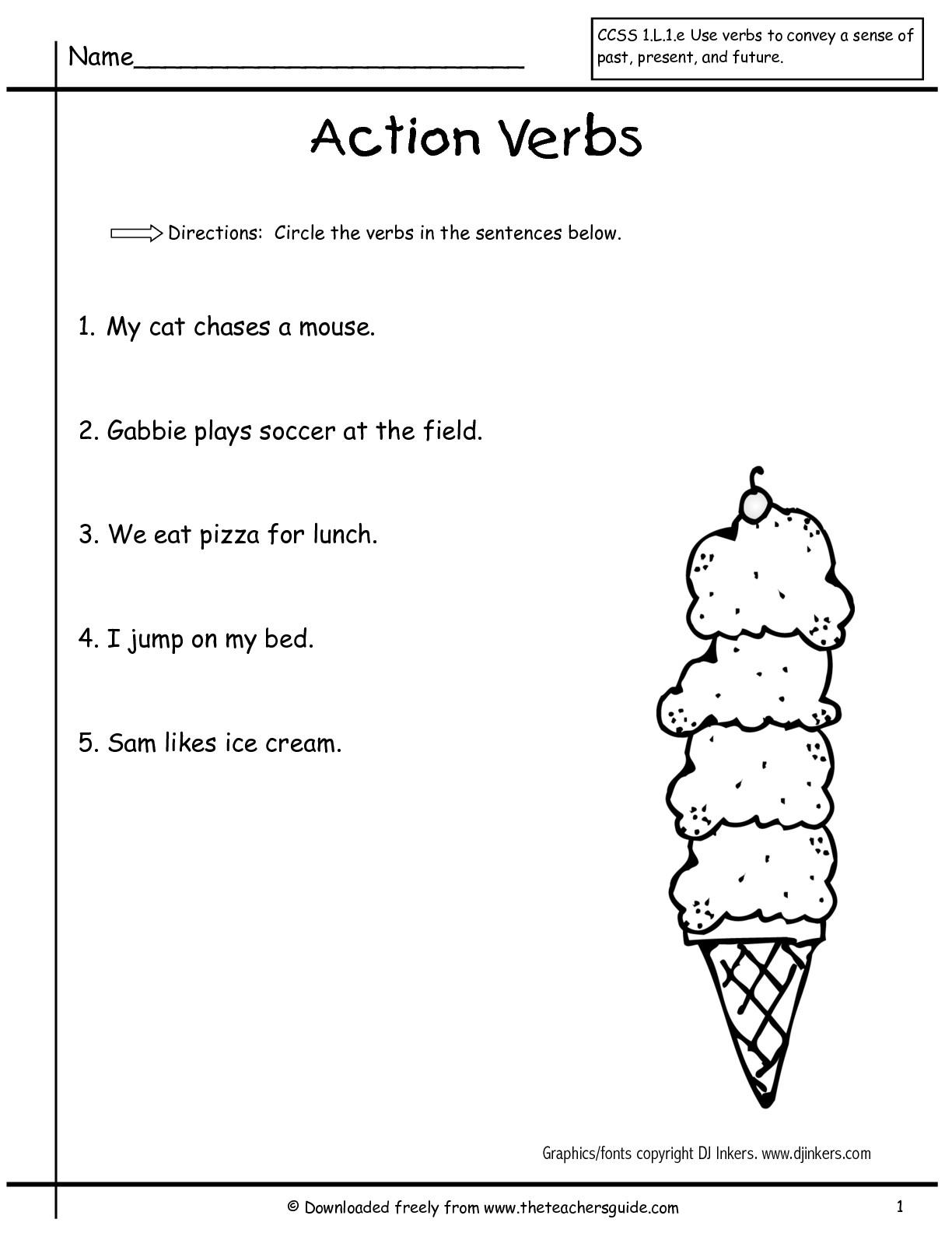 Verbs Worksheet 1st Grade 392058