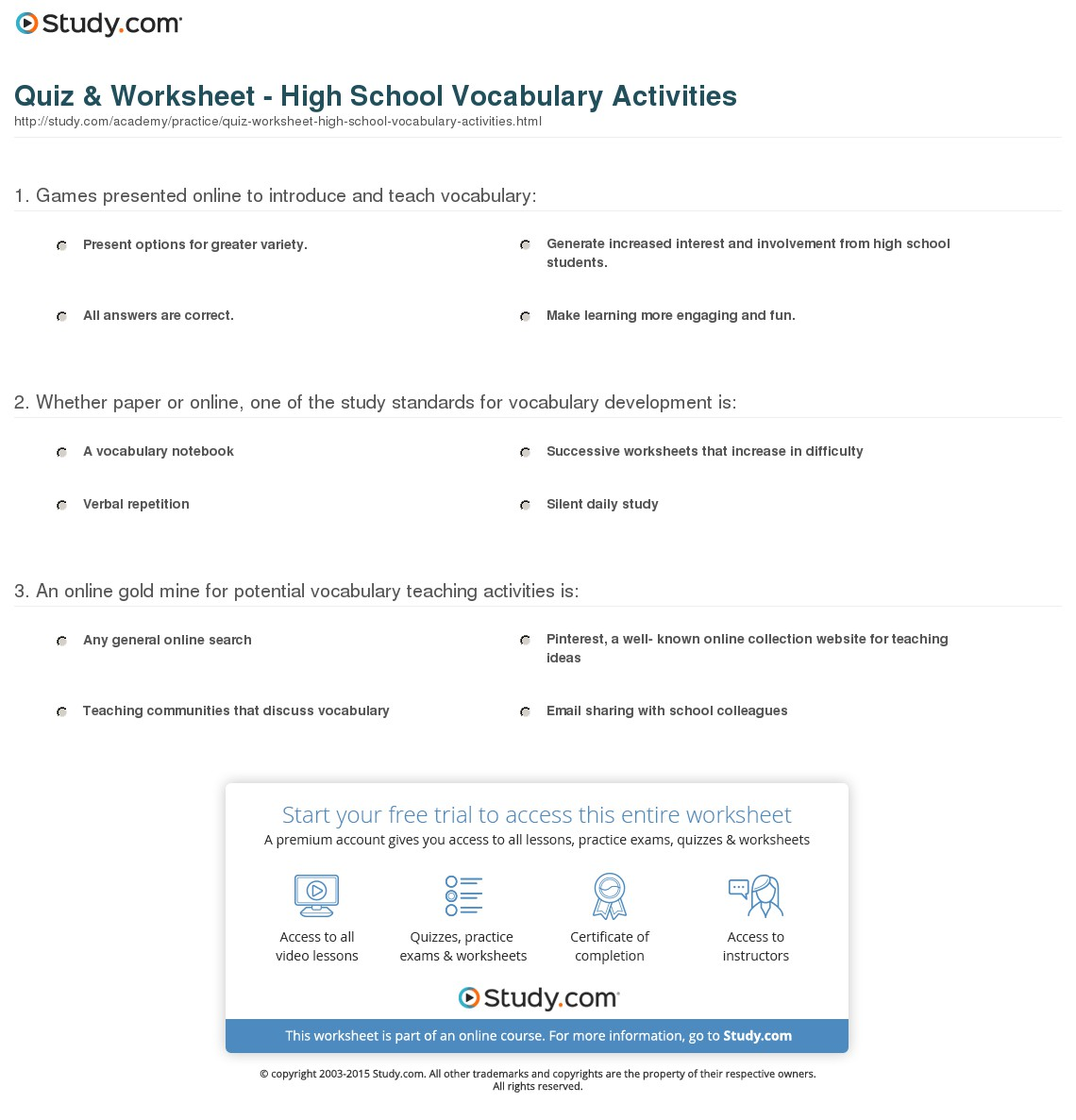 Vocabulary Worksheets For High School Virallyapp, High School