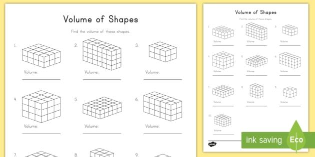 Volume Of Shapes Worksheet   Activity Sheet