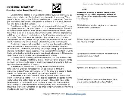 Weather Worksheets Middle School