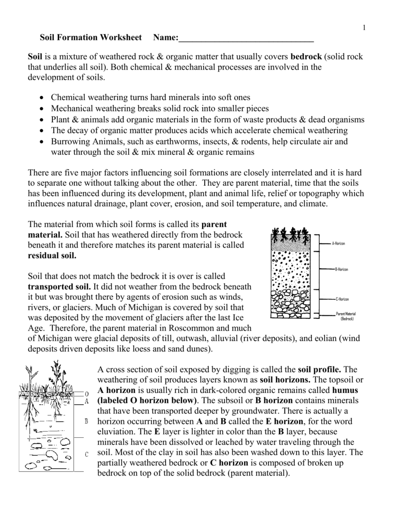 Weathering And Soil Formation Worksheet 414095