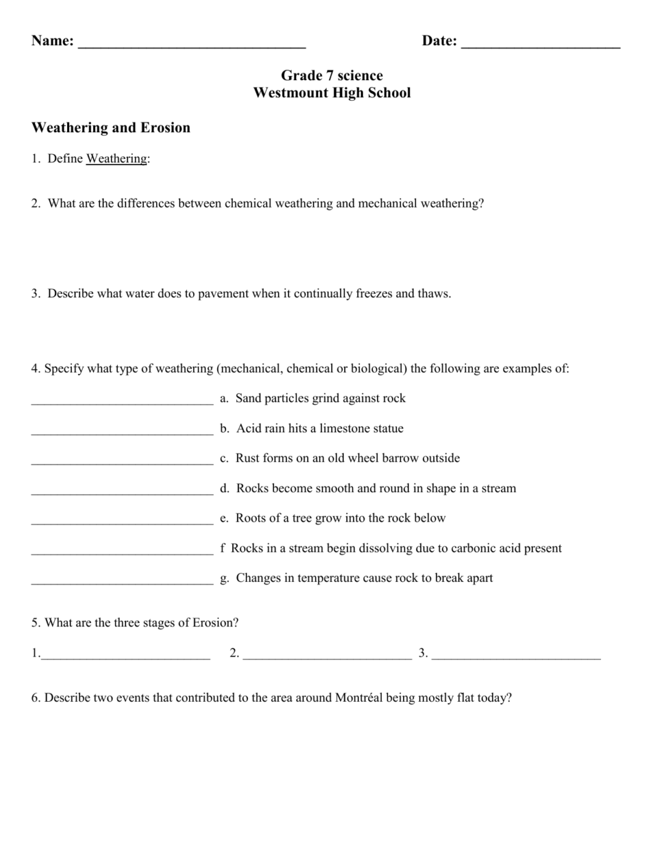 Weathering And Soil Formation Worksheet 414115