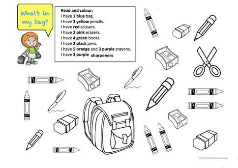 What's In My Bag  ( I Have+ School Things) Worksheet
