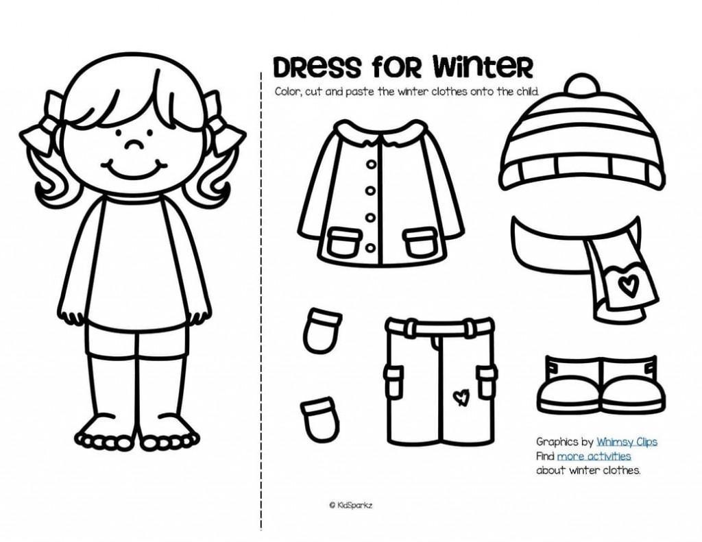 Winter Clothing Worksheets For Kindergarten  1025914