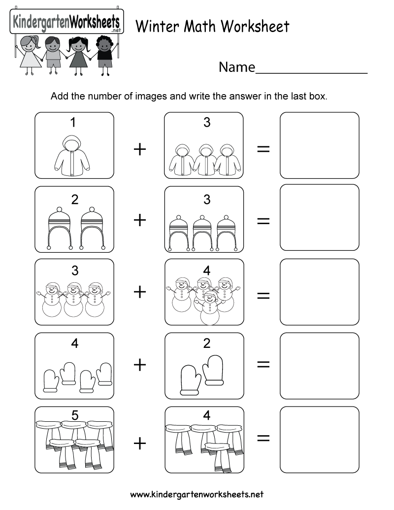 Winter Math Worksheets Kindergarten 566078