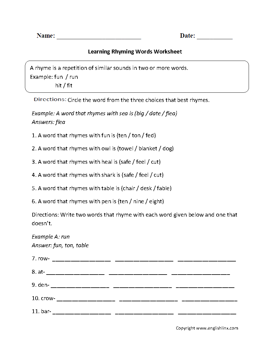 Words That Rhyme Worksheets For Kindergarten 760758
