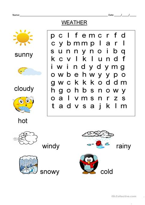 Wordsearch Weather Vocabulary Worksheet