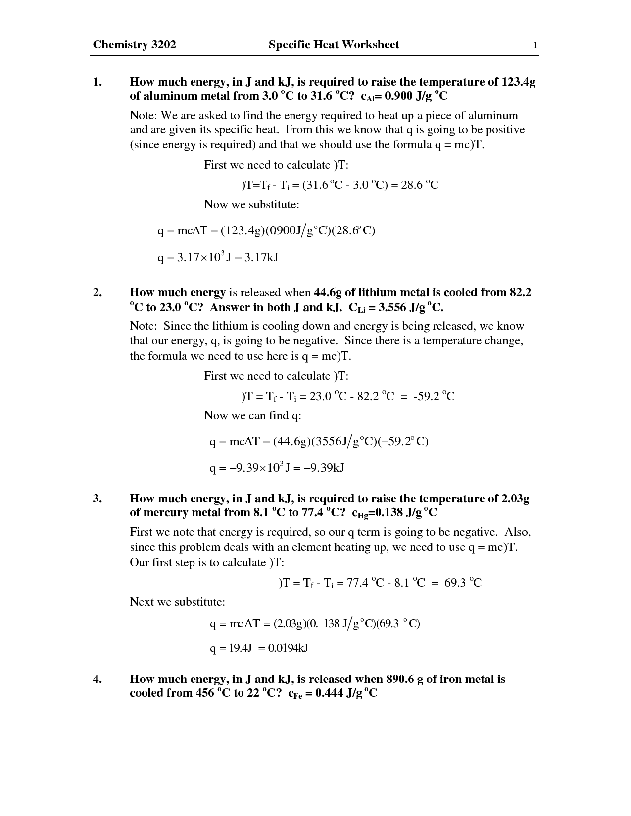 Worksheet 3 Heat And Heat Calculations 565269