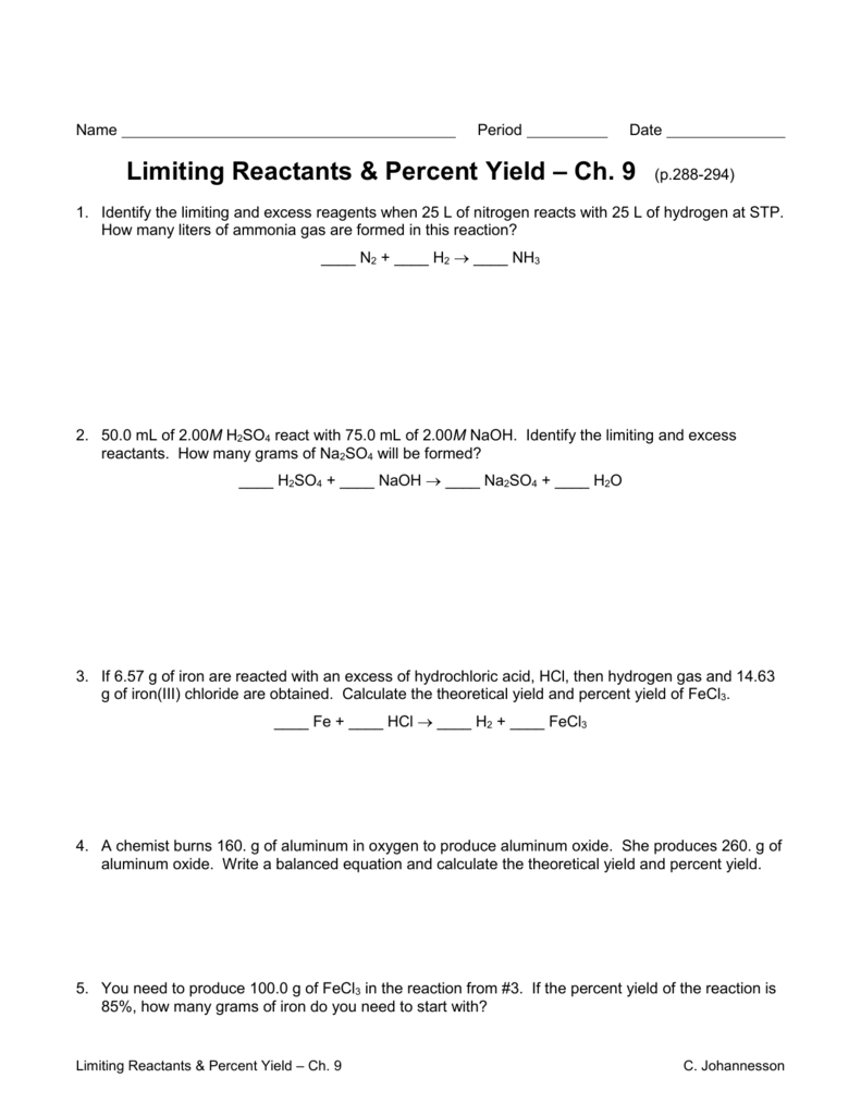 Worksheet 5 3 Limiting Reactants 1141802