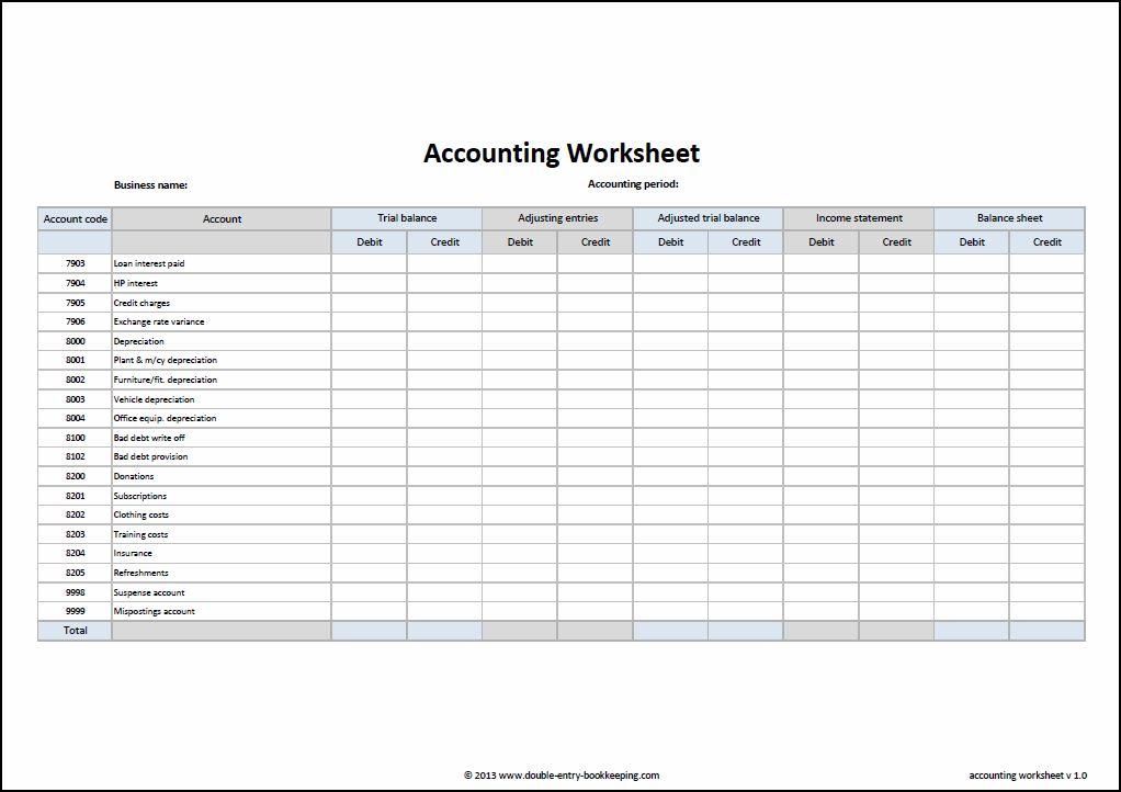 Worksheet Accounting 10 Column 74035