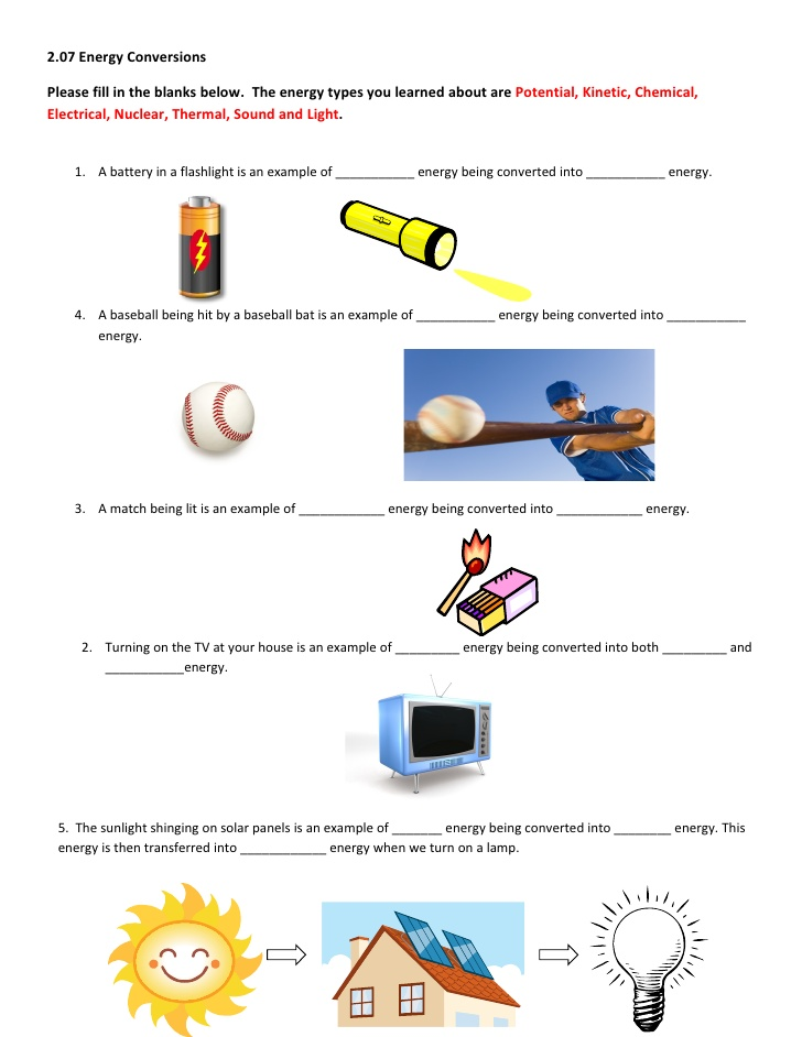Worksheet Energy Transformations 1408220