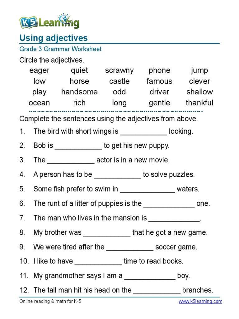 Worksheet For Grade 1 English Nouns 1255791