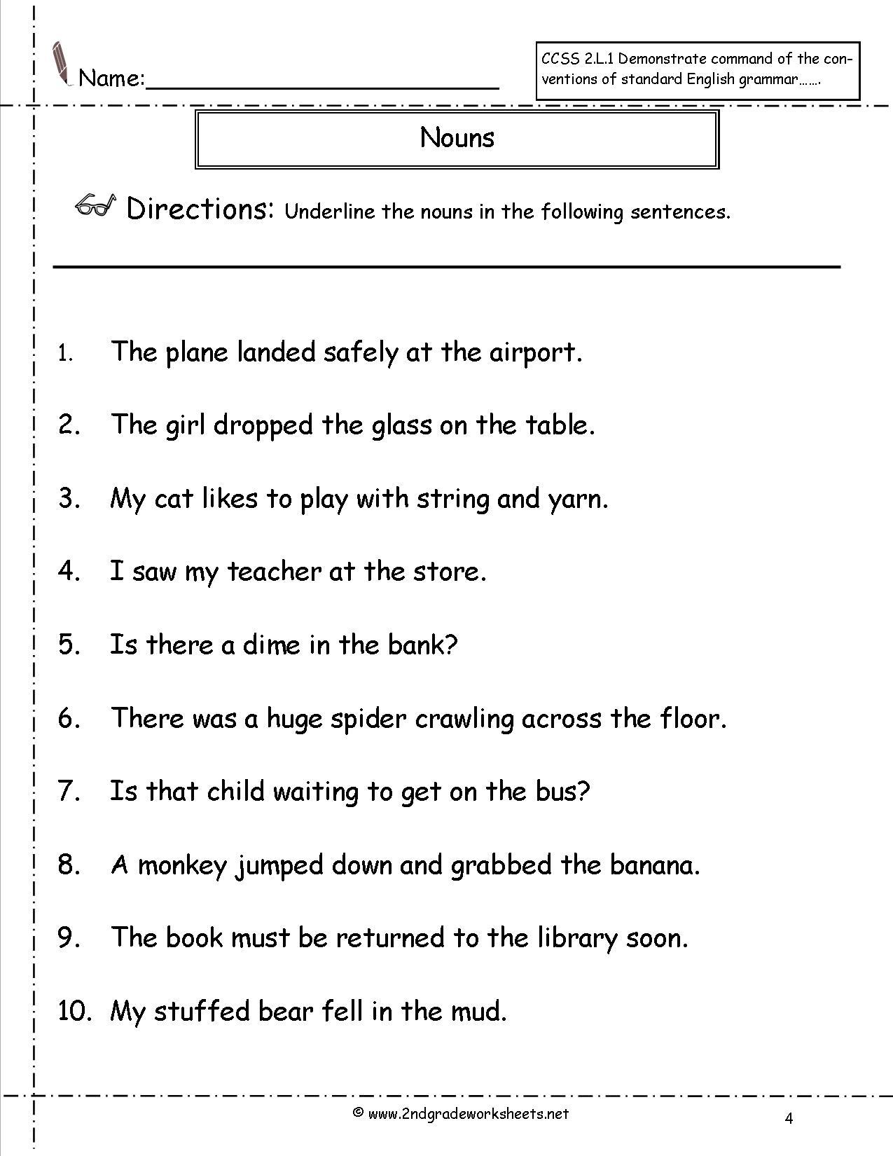 Worksheet For Grade 1 English Nouns  1255800