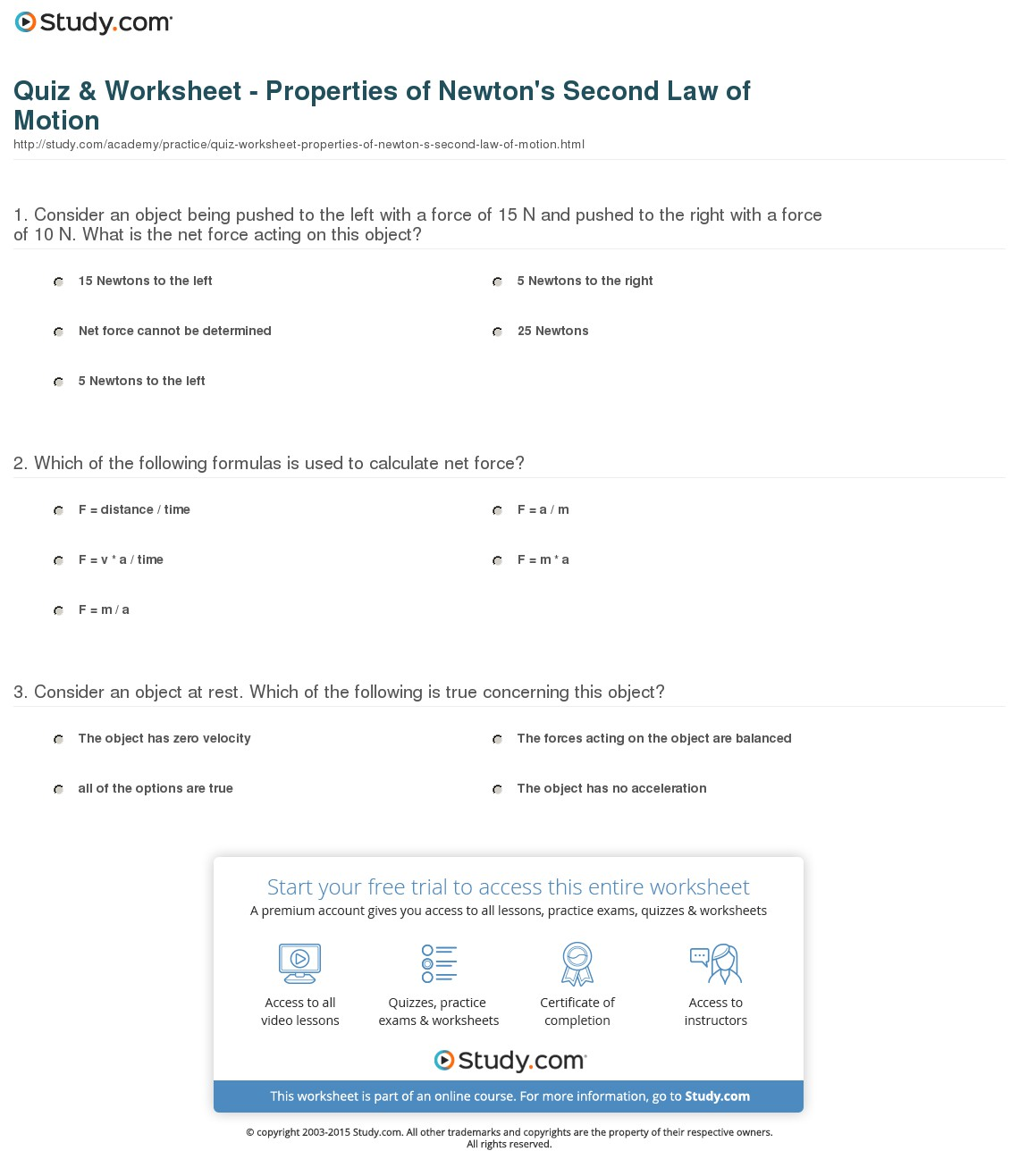 Worksheet For Newton S Second Law 1049485