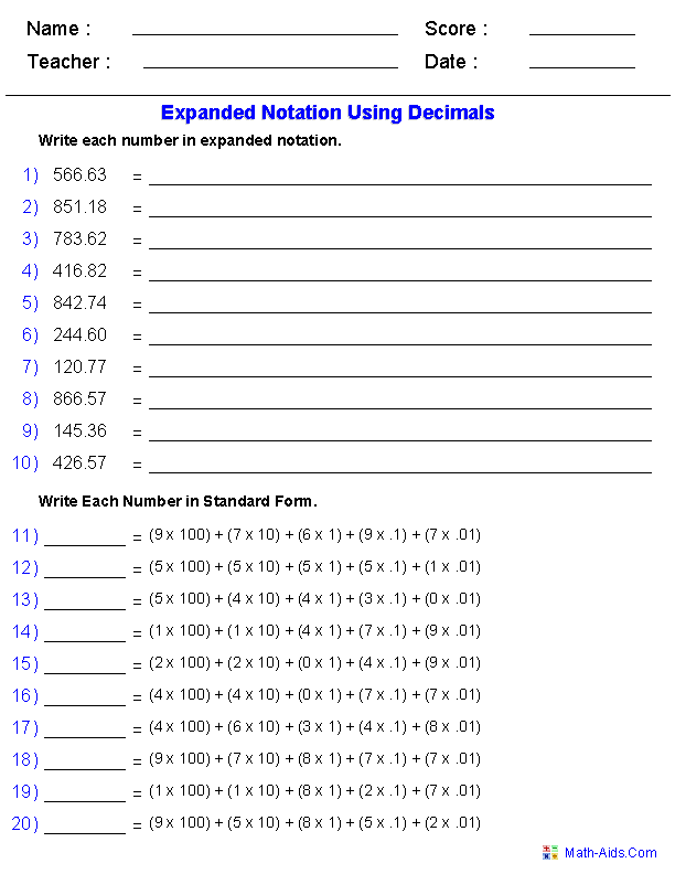 Worksheet For Place Value Of Decimals 379797