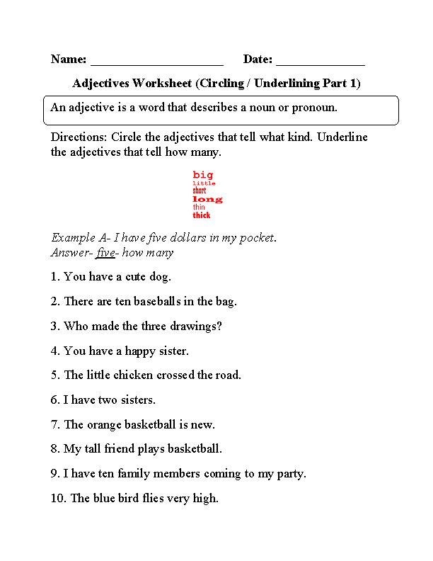 Worksheet On Describing Words For Grade 2 1361028