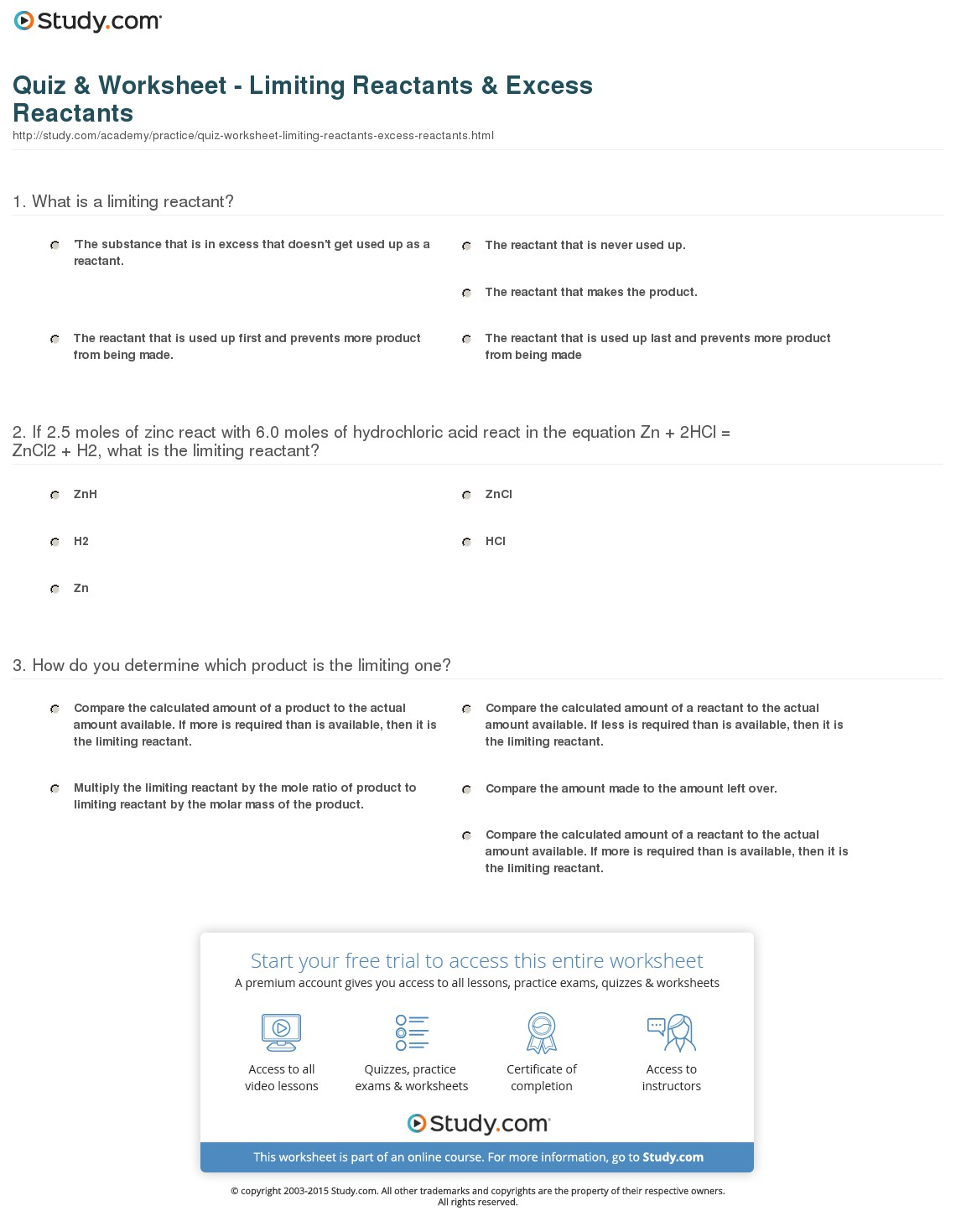 Worksheet On Limiting Reactants And Percent Yield 786929