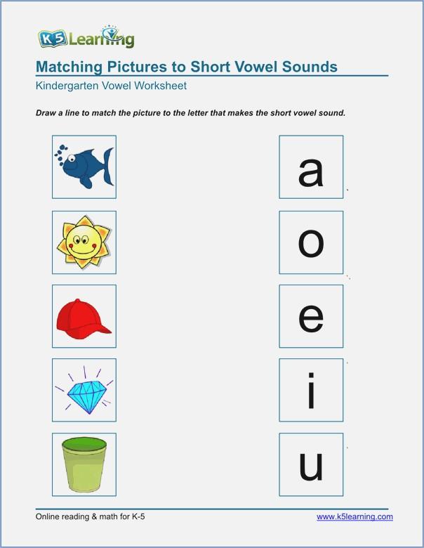 Worksheet On Vowels For Kindergarten
