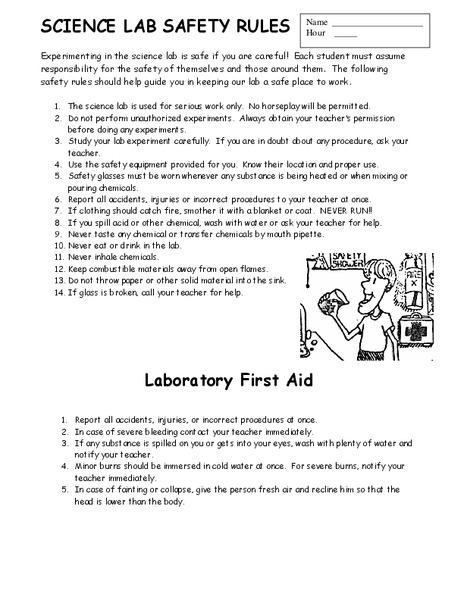 Worksheet Science Lab Safety 1100990