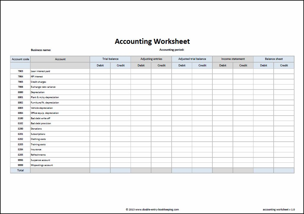 Worksheet Template Accounting 1082846