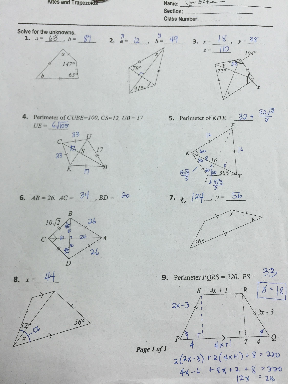 Worksheet Trapezoids Kites 1009706