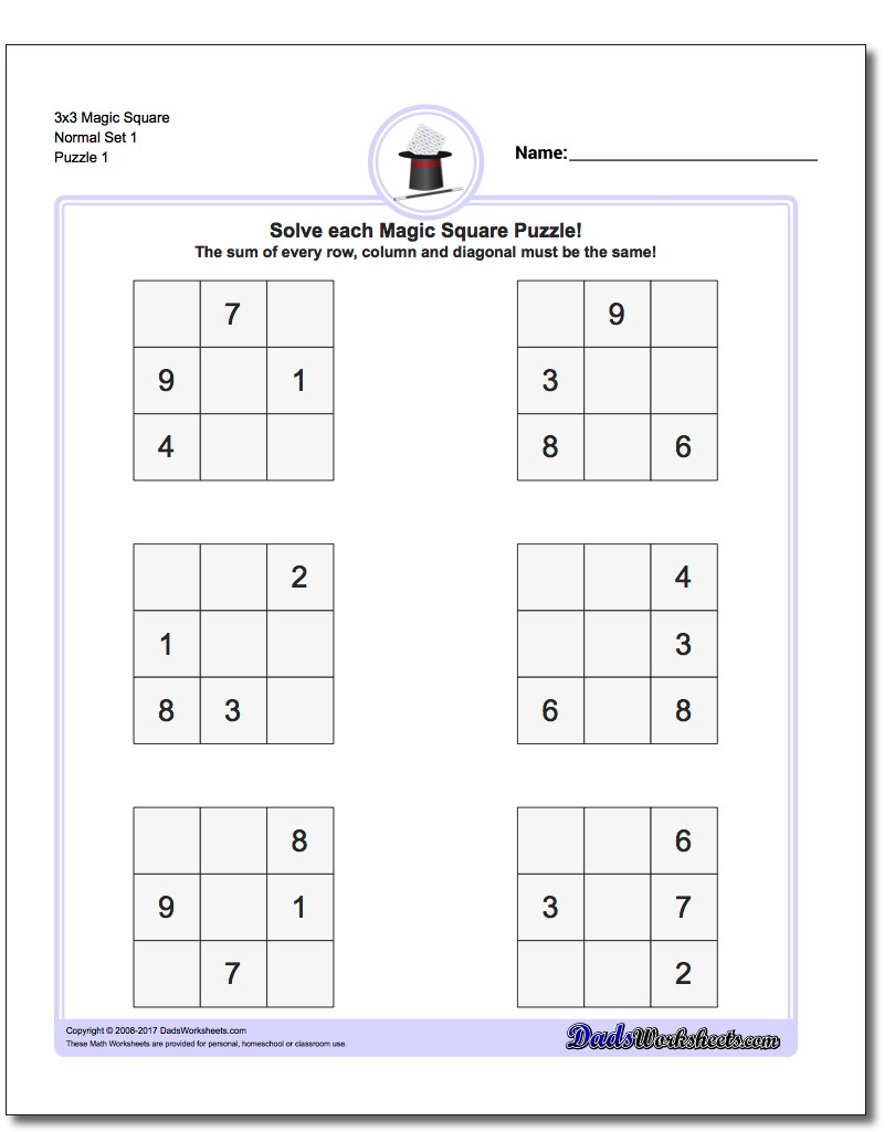 Worksheets Addition Math Magic Squares 607921