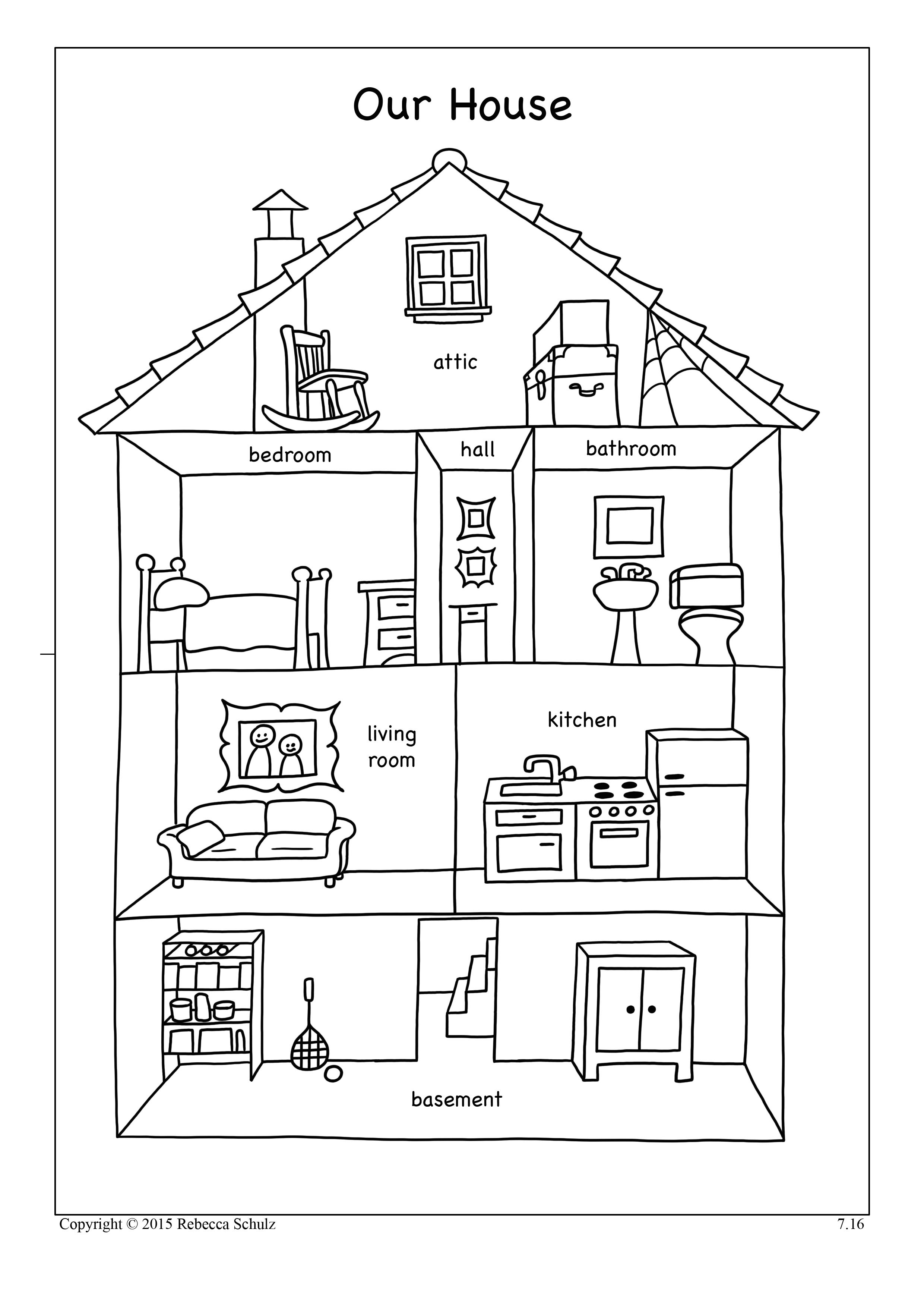 Worksheets For Kindergarten About Parts Of The House  1080738