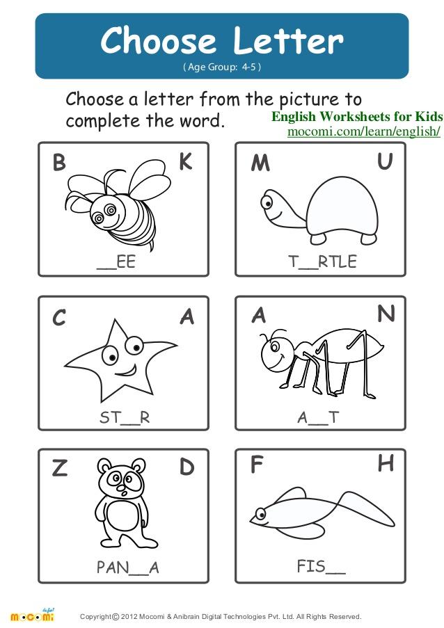 Worksheets For Kindergarten In English 611227