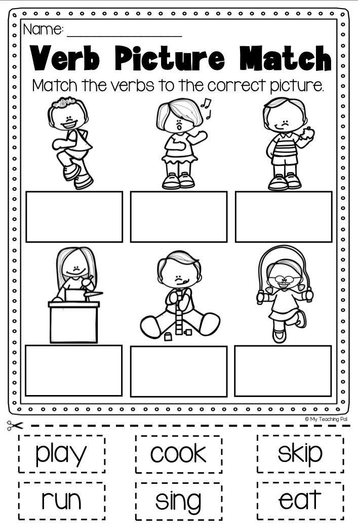 Worksheets For Kindergarten On Verbs 722691