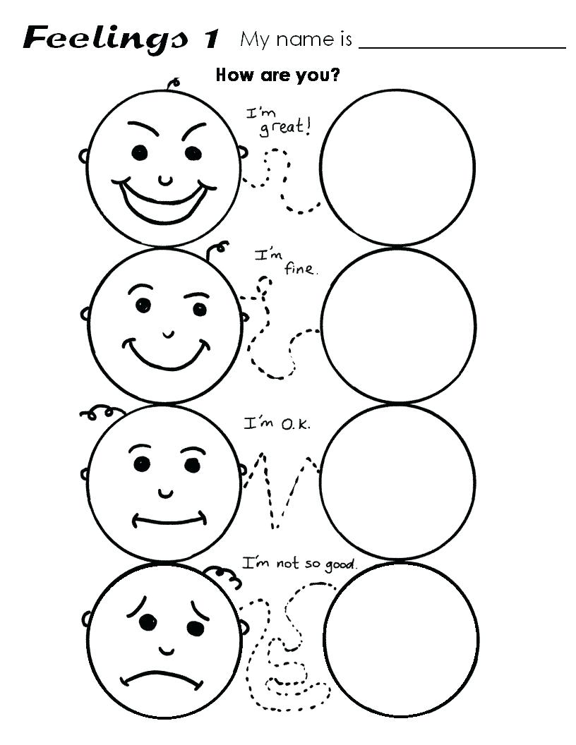 Worksheets For Preschoolers Emotions 1212910