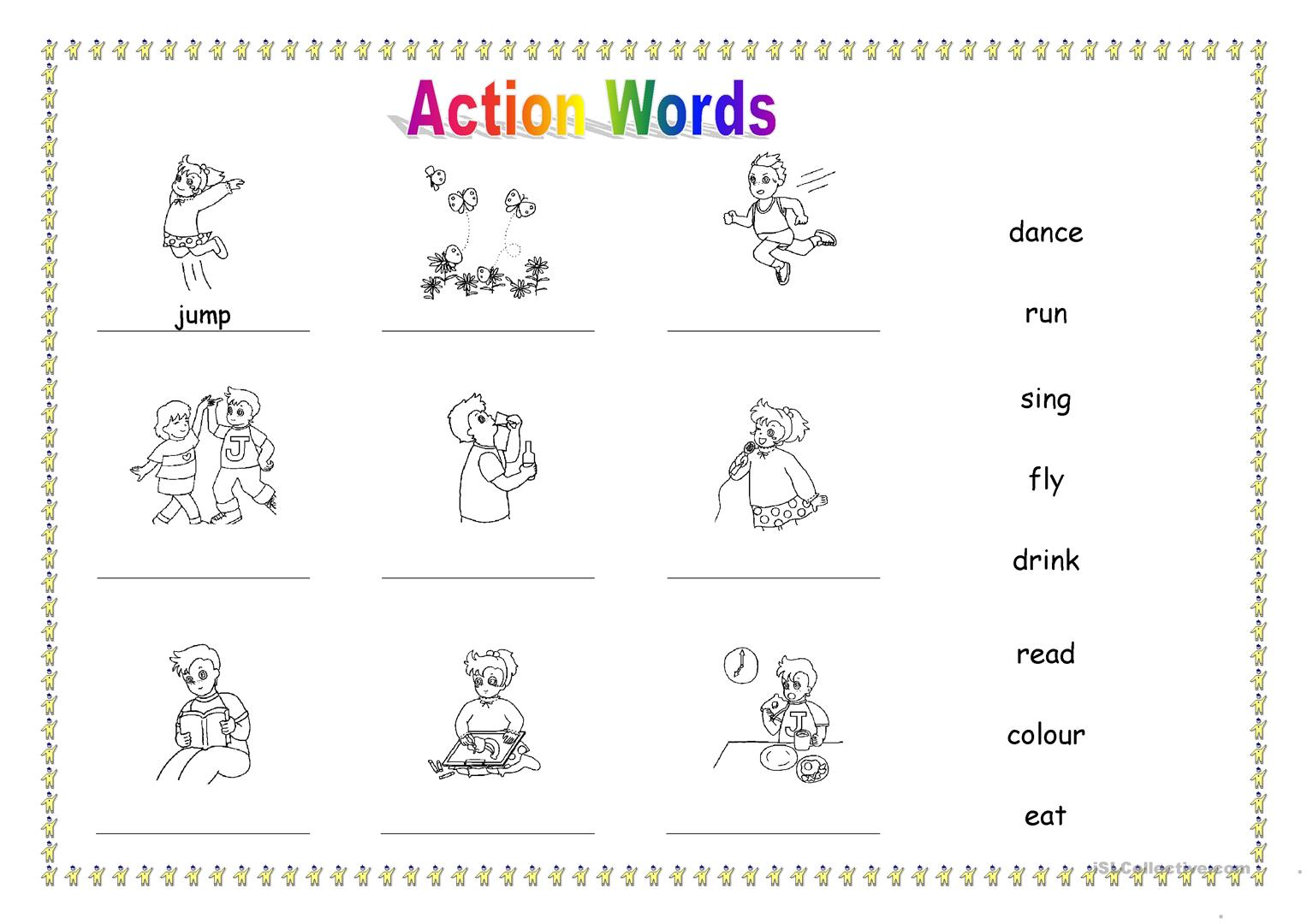 Worksheets On Action Words For Kindergarten 1209078