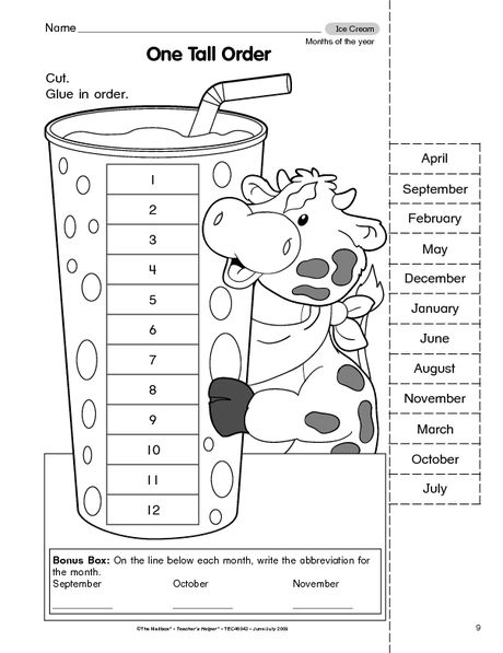 Worksheets On Months Of The Year Kindergarten