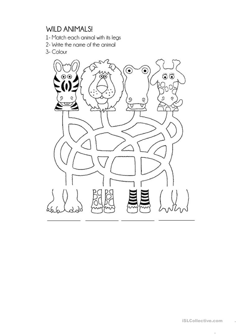Worksheets On Wild Animals For Kindergarten 1360027