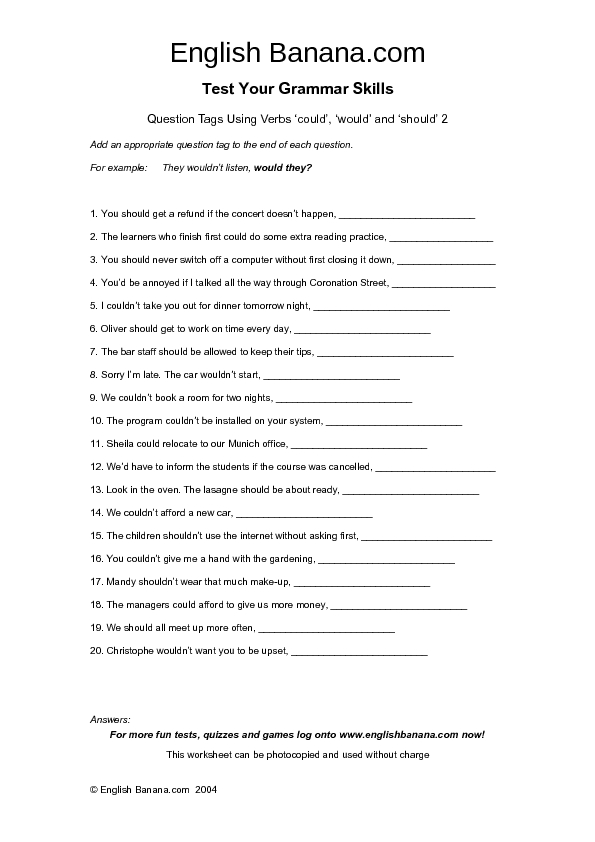Would Could Should Worksheet
