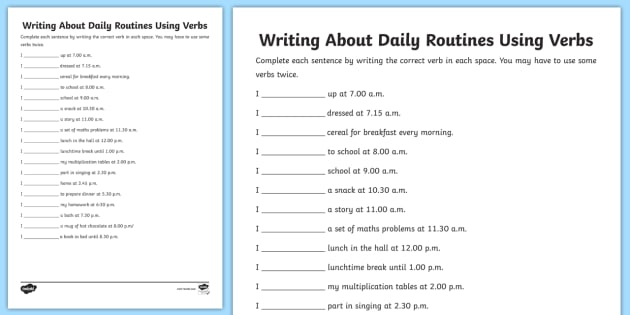 Writing About Daily Routines Using Verbs Worksheet