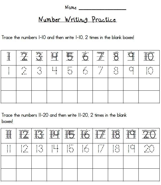 Writing Numbers 1 20 Printables